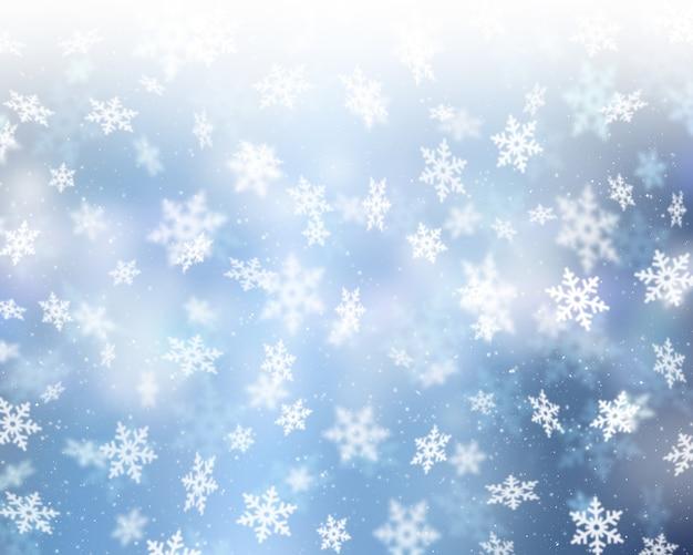 Boże narodzenie tło spadających płatków śniegu