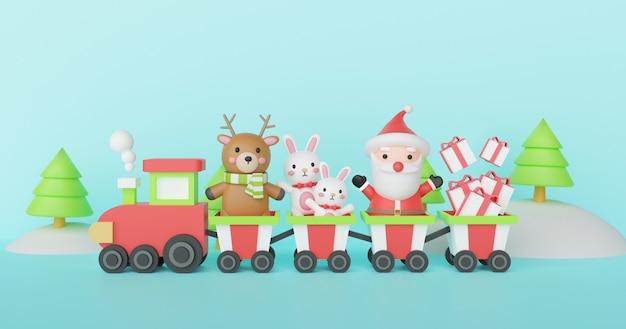 Boże narodzenie tło z mikołajem i przyjaciółmi stojącymi w pociągu. renderowania 3d.