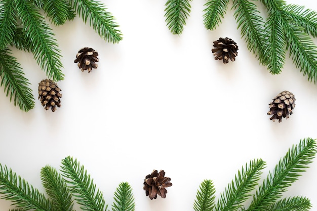 Boże narodzenie tło z zielonymi gałęziami jodły i szyszki na białym tle.
