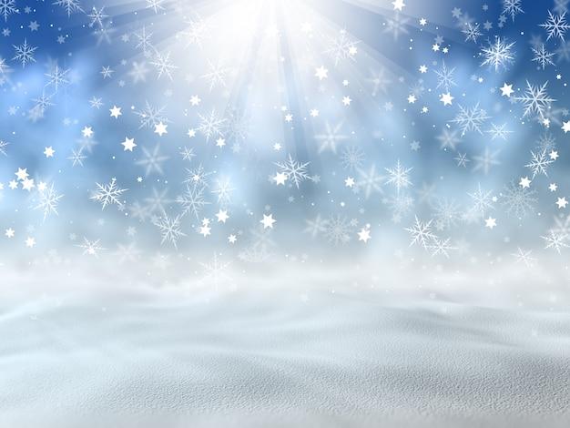 Boże narodzenie w tle śniegu i gwiazd