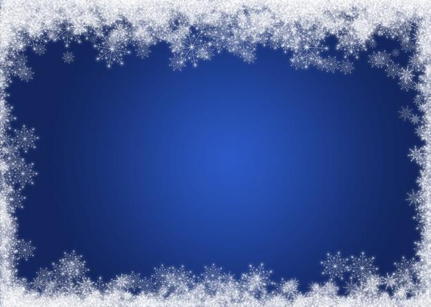 Boże narodzenie w tle z ozdobnym granicy śniegu