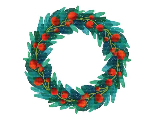 Boże narodzenie wieniec z liści i jagód. ręcznie rysowane stylu przypominającym akwarele