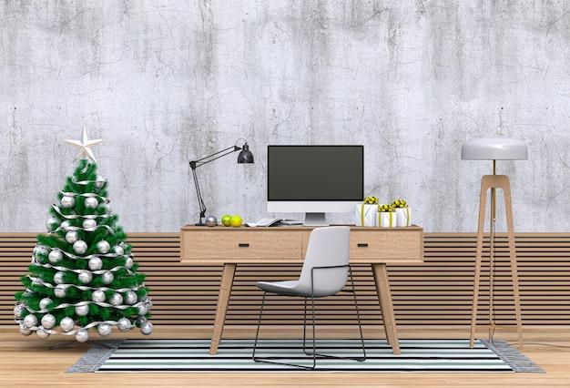 Boże narodzenie wnętrze obszaru roboczego z komputerem. renderowania 3d