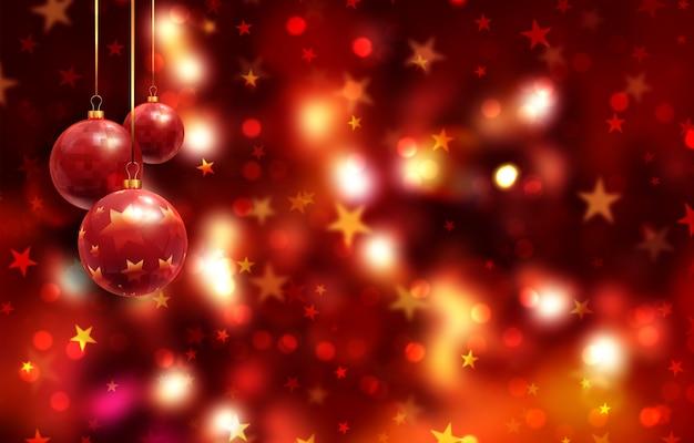 Boże narodzenie z bombkami wiszące na bokeh światła i gwiazdy