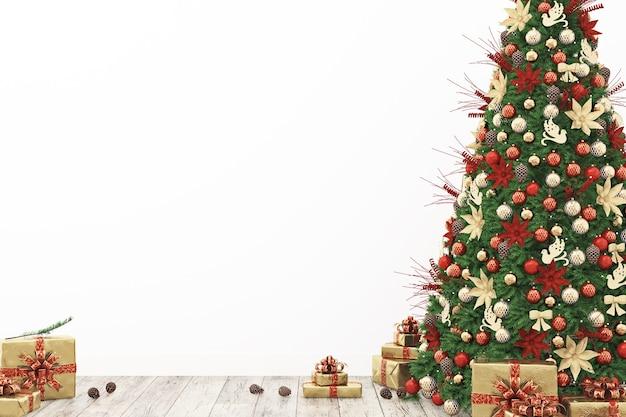 Boże narodzenie zielone drzewo na tle białej ściany