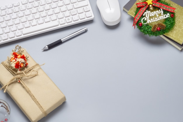Bożenarodzeniowy sceny tło biurowa desktop pracy przestrzeń