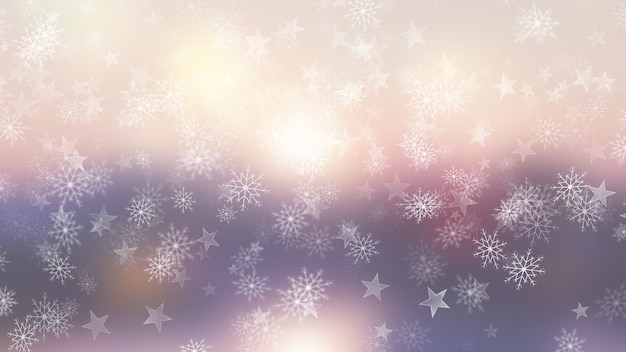Bożenarodzeniowy tło płatki śniegu i gwiazdy