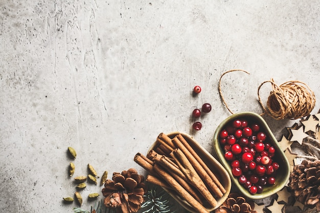 Bożenarodzeniowy tło z jedlinowymi gałąź, rożkami, cynamonem i żurawiną