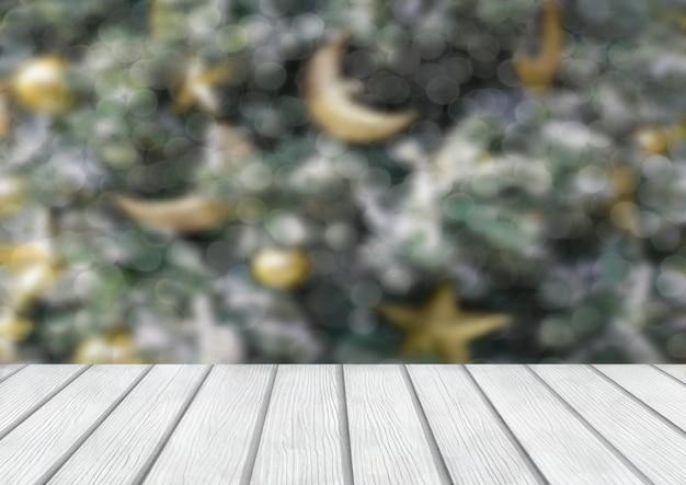 Bożenarodzeniowy wakacyjny tło z pustym drewnianym stołem