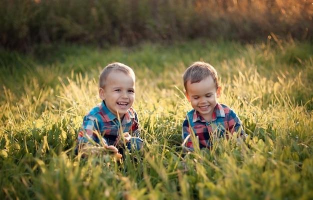 Bracia bawią się latem na trawie