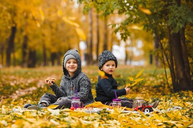 Bracia siedzą na kratę w parku jesienią