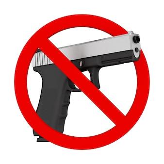 Brak koncepcji broni. potężny metaliczny policyjny lub wojskowy pistolet ze znakiem zakazu na białym tle. renderowanie 3d