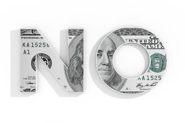 Brak koncepcji. słowo nie napisane z dolara na białym tle. renderowanie 3d