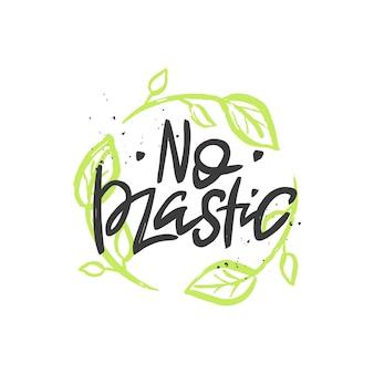 Brak plastikowego napisu odręcznego cytatu pędzla z napisem zero waste concept