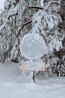 Brak znaku parkingowego pokrytego śniegiem