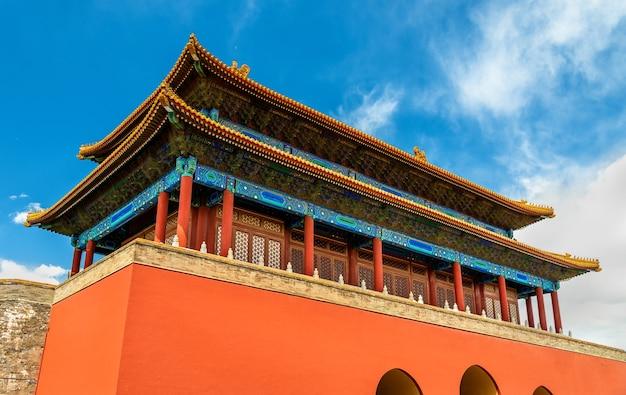 Brama boskiej mocy, północna brama zakazanego miasta w pekinie - chiny