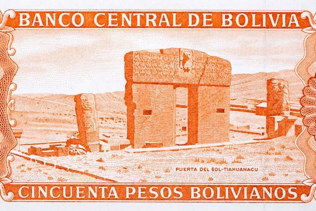 Brama słońca ze starych boliwijskich pieniędzy