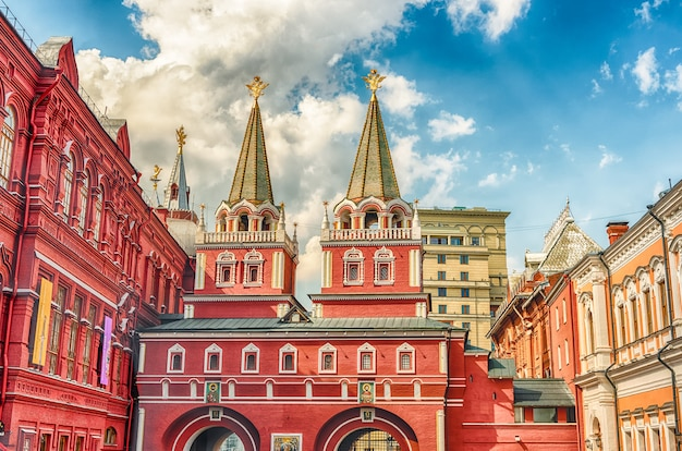 Brama zmartwychwstania, główny dostęp do placu czerwonego w moskwie, rosja