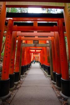 Bramy torii, fushimi inari taisha, kioto, japonia