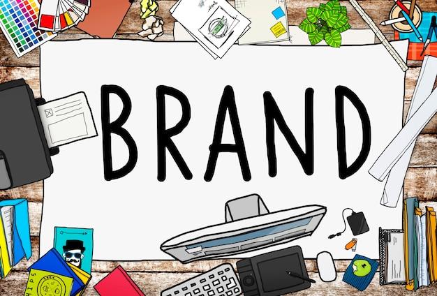 Branding koncepcja nazwy marketingowej znaku towarowego