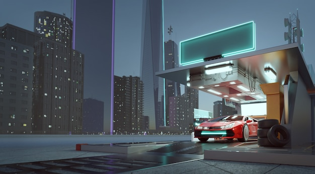 Brandless ogólna koncepcja czerwonego sportowego samochodu parkingowego przed futurystyczną stacją ładującą