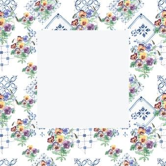 Bratki kwitną florą. wzór wydruku tekstyliów ręcznie rysowane akwarela ilustracja wiosna lato natura.