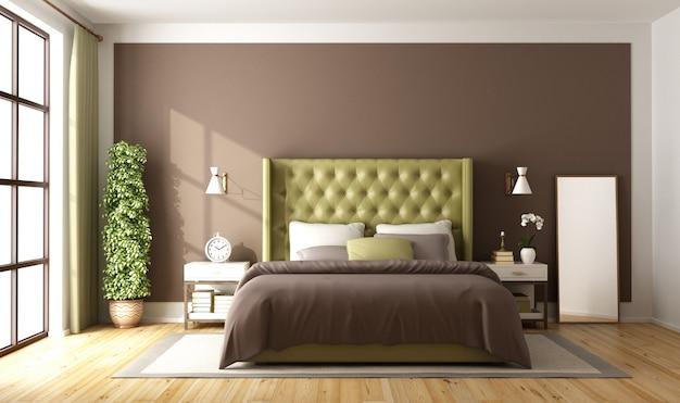 Brązowa i zielona sypialnia główna