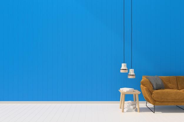 Brązowa kanapa blie pastelowa ściana biała drewniana podłoga tło tekstura słońce świeci lampka biurko
