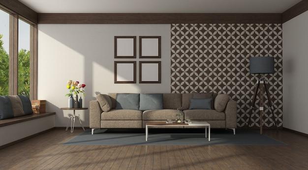 Brązowa kanapa przed ścianą z kafelkami w nowoczesnym salonie - renderowanie 3d