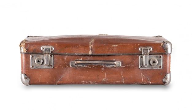 Brązowa leżąca walizka