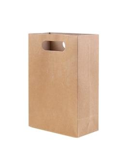Brązowa papierowa torba na białym tle