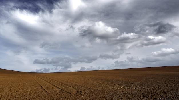 Brązowa, piaszczysta ziemia pod ciemnym, zachmurzonym szarym niebem