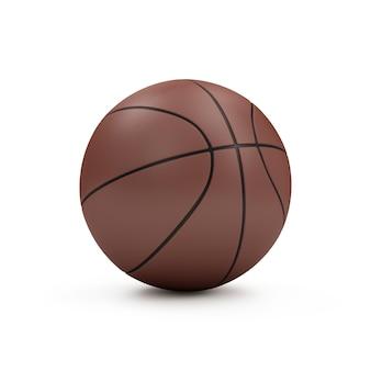 Brązowa piłka do koszykówki na białym tle. koncepcja sportu i rekreacji