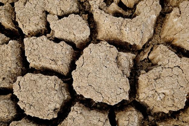 Brązowa powierzchnia gleby jest pęknięta. koncepcja globalnego ocieplenia. pęknięty tekstury ziemi.