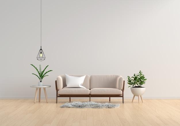 Brązowa sofa w białym salonie