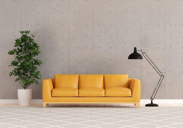 Brązowa sofa w salonie z wolną przestrzenią