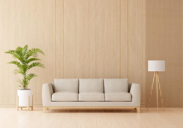 Brązowa sofa we wnętrzu salonu z wolną przestrzenią