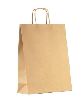 Brązowa torba na zakupy na białym tle