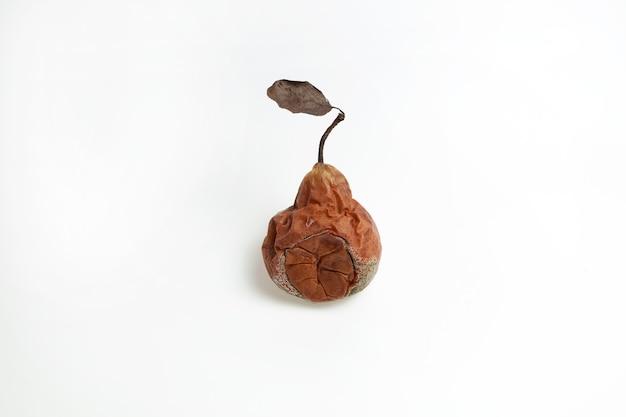 Brązowa zgniła gruszka z pleśnią na jasnym tle z miejsca na kopię. koncepcja - brzydkie owoce i warzywa.