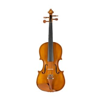 Brązowe drewniane skrzypce na białym tle