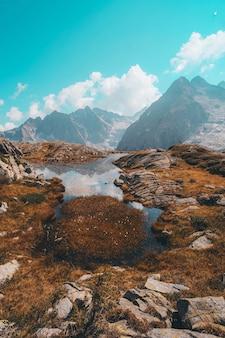 Brązowe i zielone pole trawy w pobliżu pokryte śniegiem góry w ciągu dnia