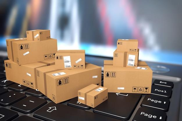 Brązowe małe pudełka na klawiaturze komputera