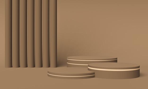 Brązowe podium. stojak na produkty geometryczne. ilustracja 3d.