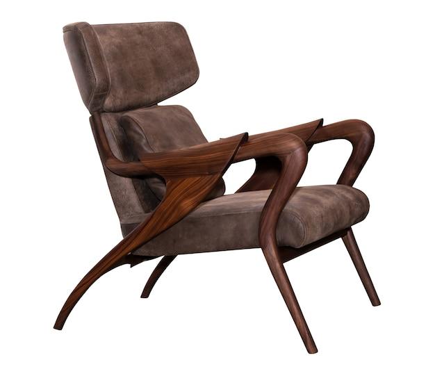 Brązowe skórzane krzesło na białym tle