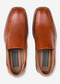 Brązowe skórzane wsuwane męskie buty moda