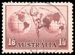 Brązowy airmail stamp