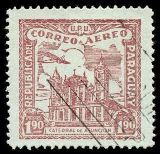 Brązowy asuncion katedra airmail stamp