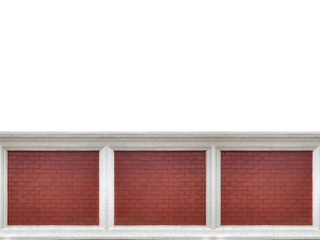 Brązowy cegła stos tekstury ściany ogrodzenia na białym tle.