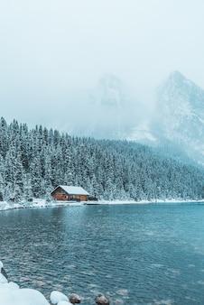 Brązowy drewniany dom między drzewami i zbiornikiem wodnym zimą