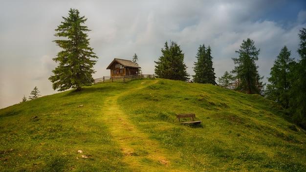 Brązowy drewniany dom w pobliżu drzew na wzgórzu